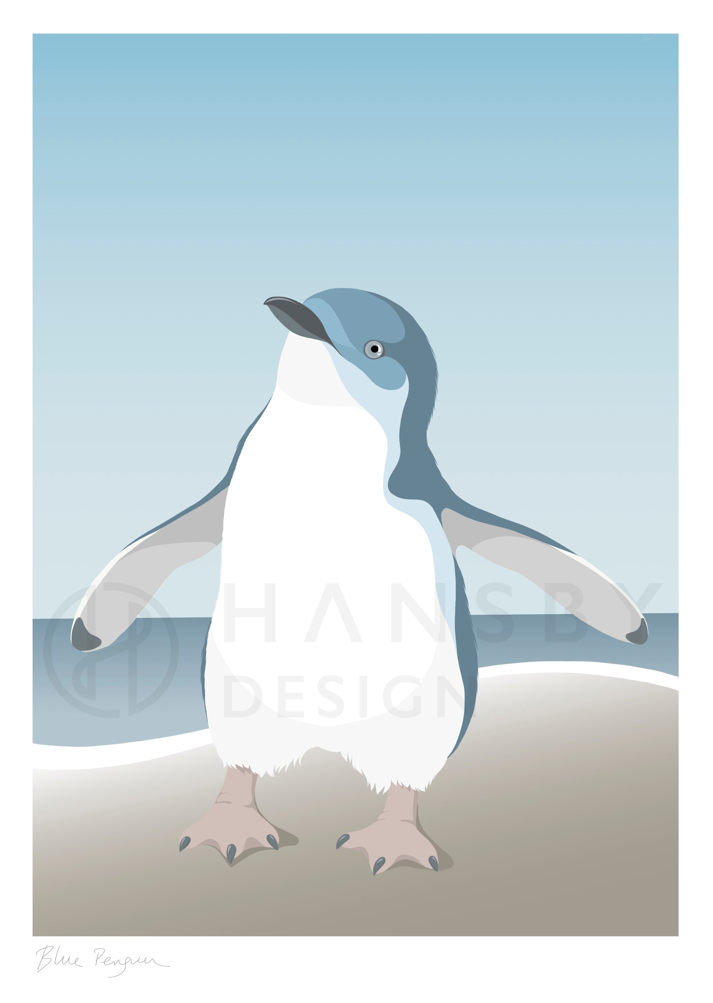 Watermarked closeup of the blue penguin art print