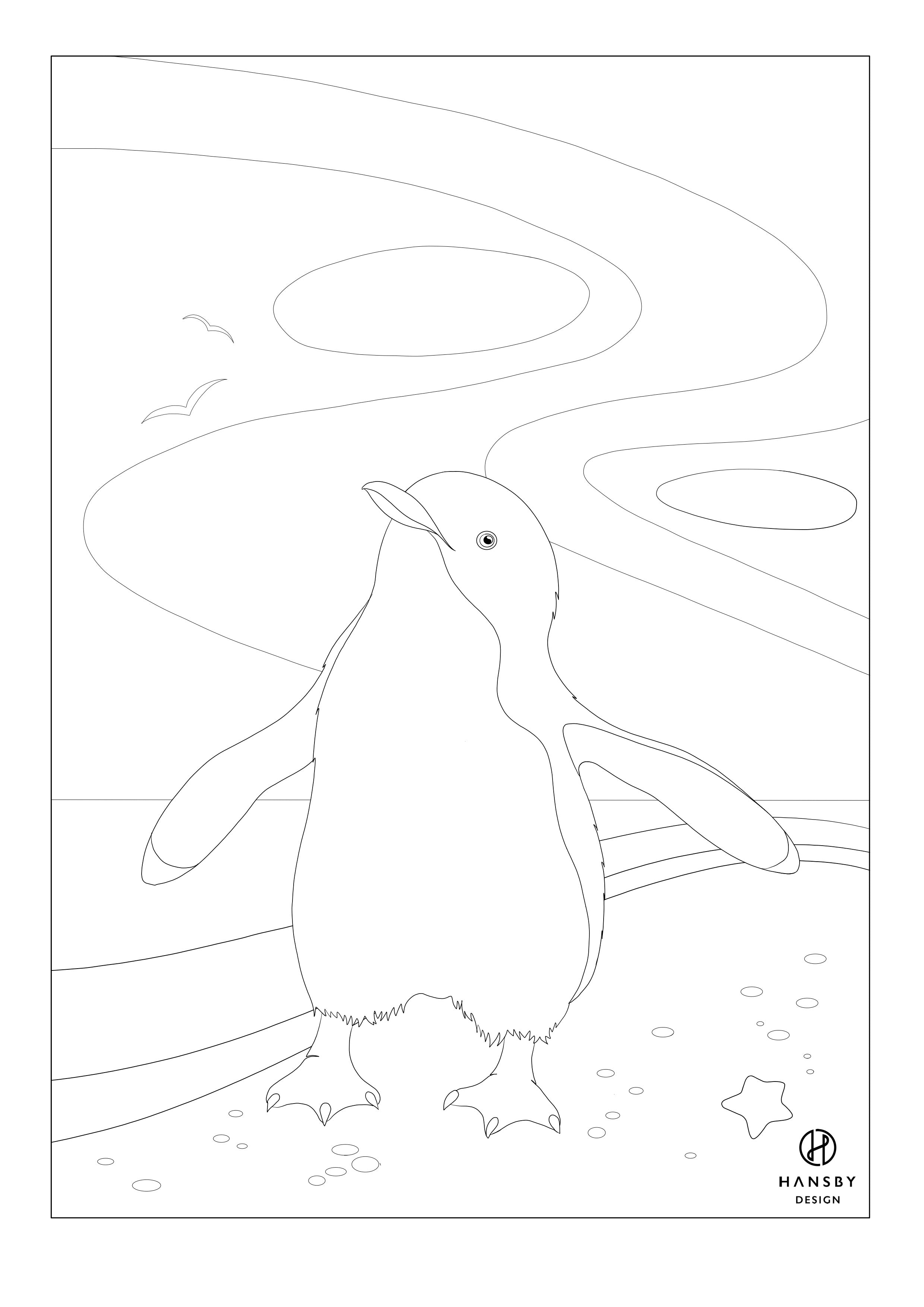 Blue Penguin Colouring printable
