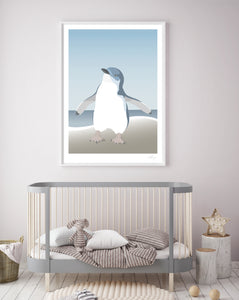 Nursery with framed print of the Blue Penguin or Fairy Penguin