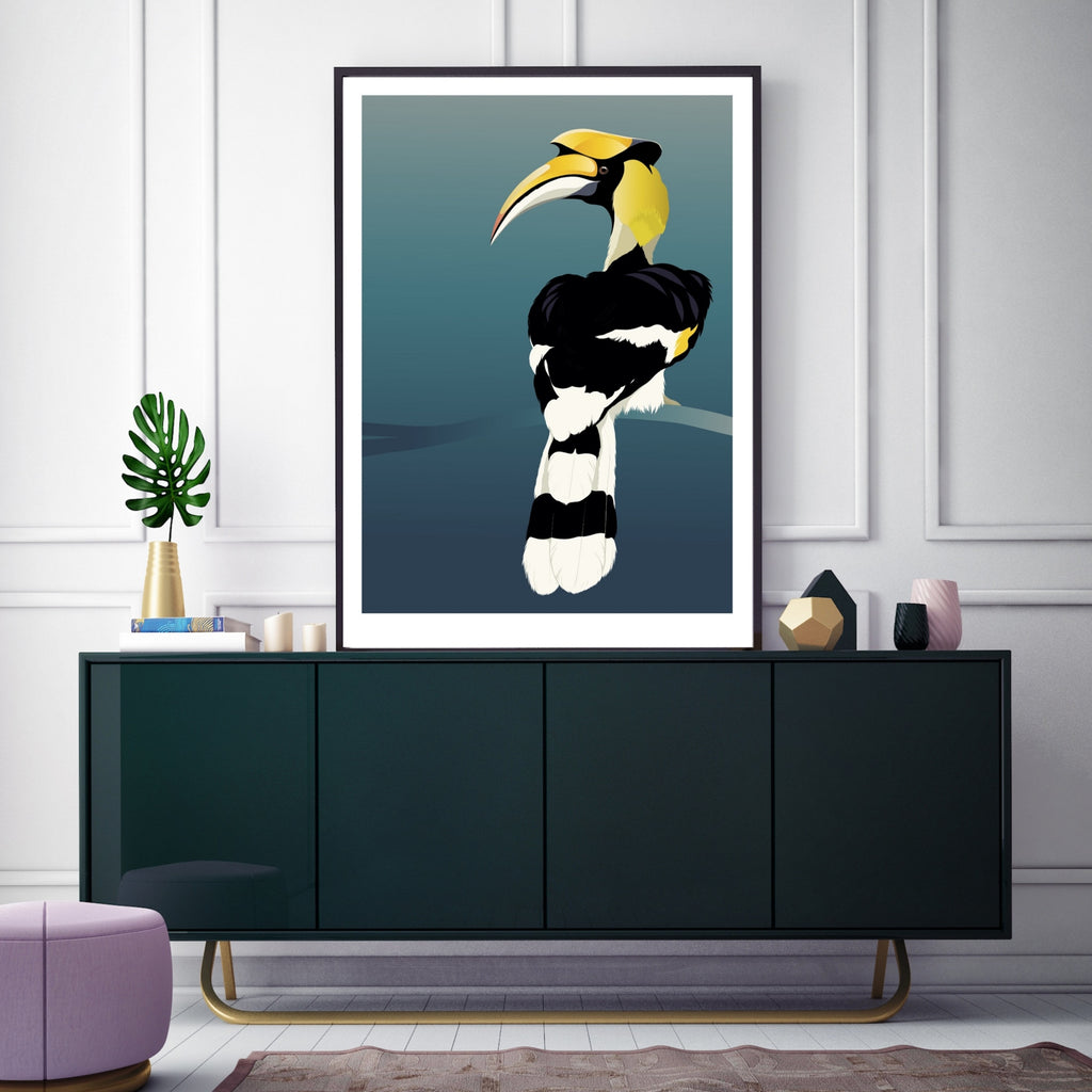 Hornbill art print by Hansby Design, framed in living room