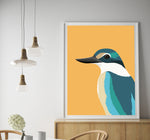 Kingfisher framed art print in kitchen