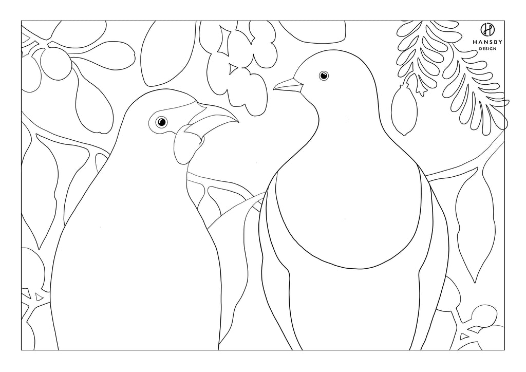 Kokako & Kereru Colouring printable