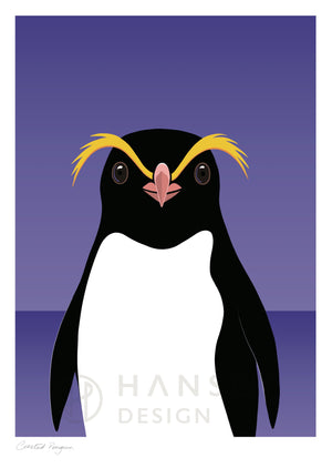 Watermarked Crested Penguin art print