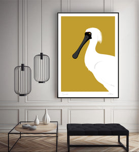 Framed Spoonbill art print by Hansby Design, displayed in living room