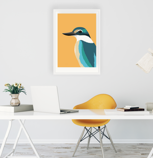 Framed art print of Kingfisher in office