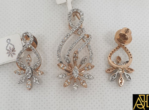 Contemporary Diamond Pendant Set