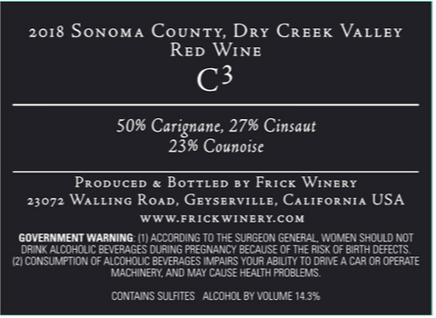 C3 (C cubed) Red Blend 2018 Dry Creek Valley