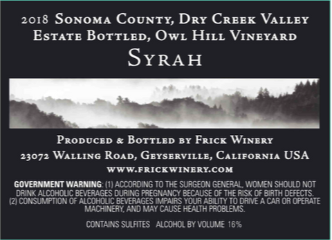SYRAH 2018 Estate Owl Hill Vineyard, Dry Creek Valley
