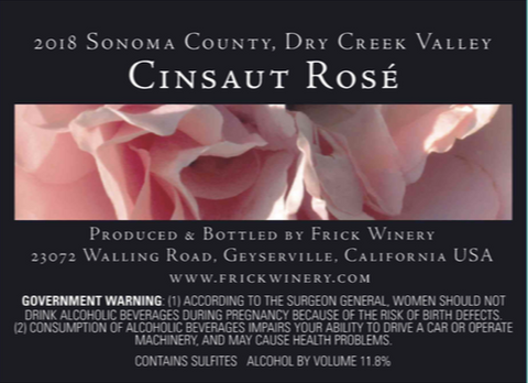 2018 Cinsaut rose label with rose picture.