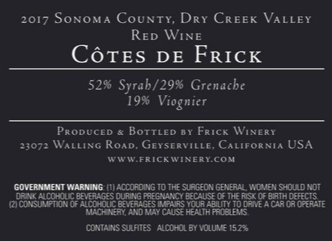 Label for Cotes de Frick red blend showing 52% syrah, 29% grenache, 19% viognier