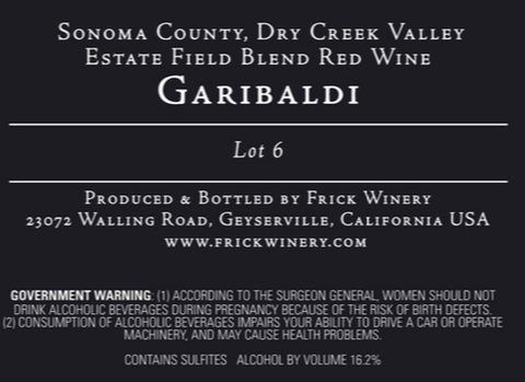 Garibaldi Lot 6 label
