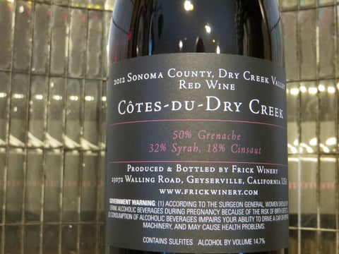 (Archive) COTES-DU-DRY CREEK RED Blend 2012 Dry Creek Valley
