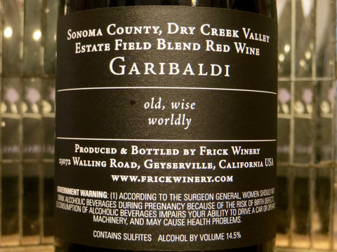 (Archive) GARIBALDI Red Field Blend Estate Garibaldi Vineyard, Dry Creek Valley