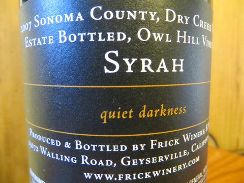(Library) SYRAH 2007 Estate Owl Hill Vineyard, Dry Creek Valley