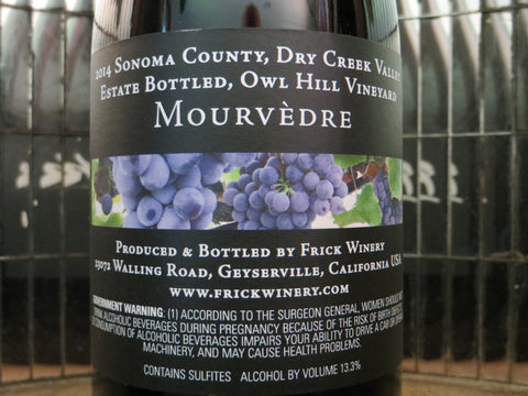 (Archive) MOURVÈDRE 2014 Estate Owl Hill Vineyard, Dry Creek Valley