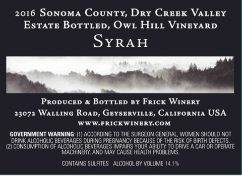 SYRAH 2016 Estate Owl Hill Vineyard, Dry Creek Valley