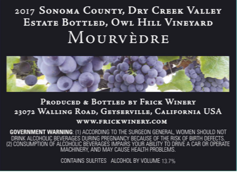 Back label 2017 Mourvedre