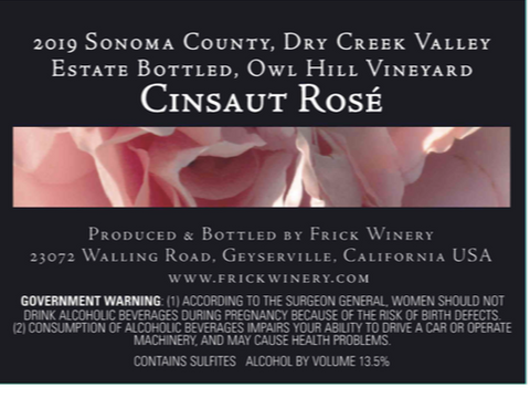 CINSAUT ROSÉ 2019 Estate Bottled, Owl Hill Vineyard, Dry Creek Valley