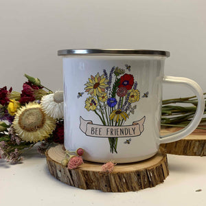 Bee Friendly Enamel Mug