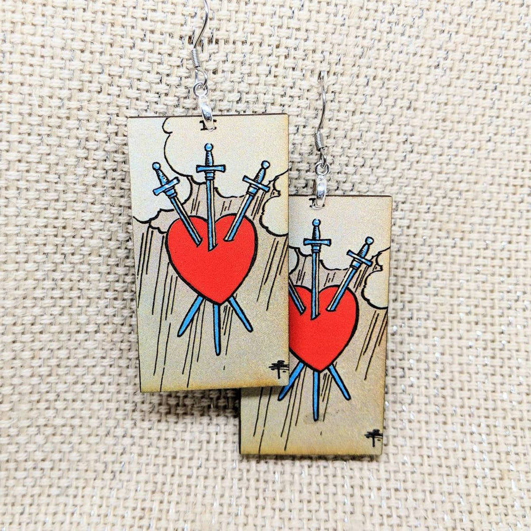 Tarot Card Earrings - Three of Swords