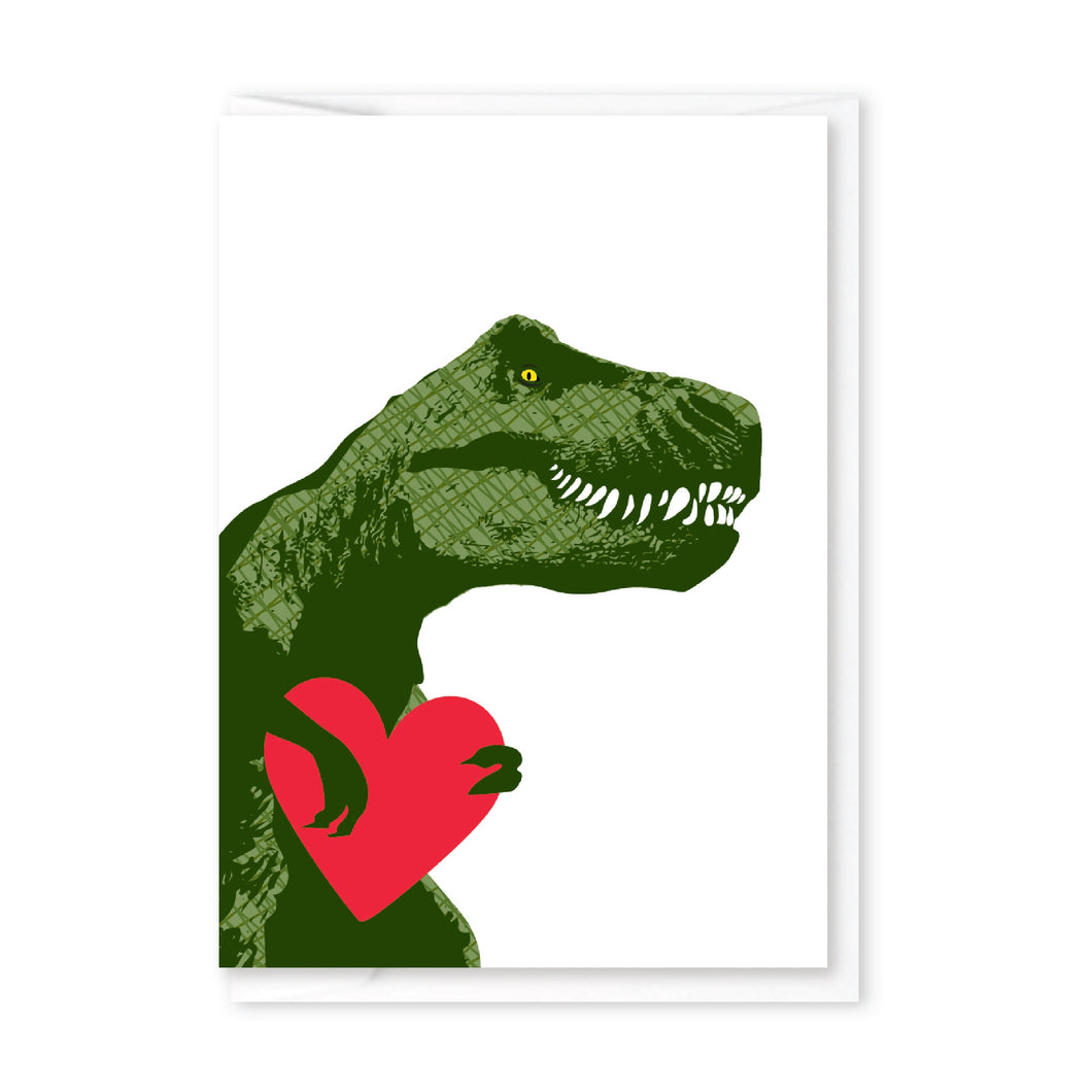 T-Rex Heart  Mini Greeting Card