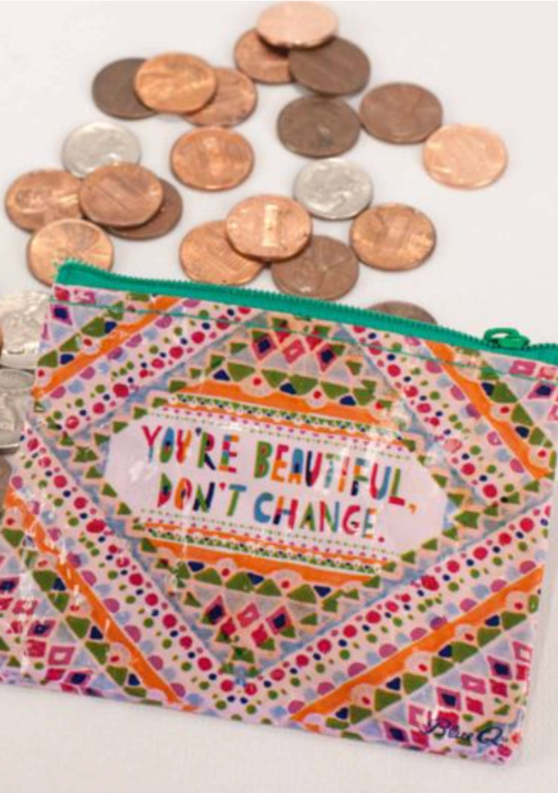 You're Beautiful, Don't Change Blue Q coin purse