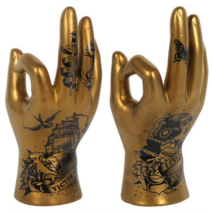 Gold Tattoo Palmistry Hands