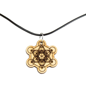 Metatron's Cube Wooden Necklace