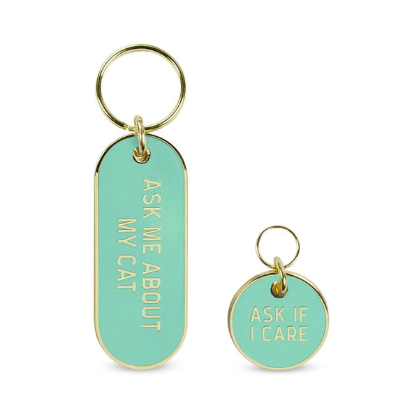 """Ask me about my cat"" Pet Tag Keychain Set"