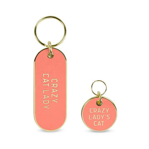 """Crazy Cat Lady"" Pet Tag Keychain Set"