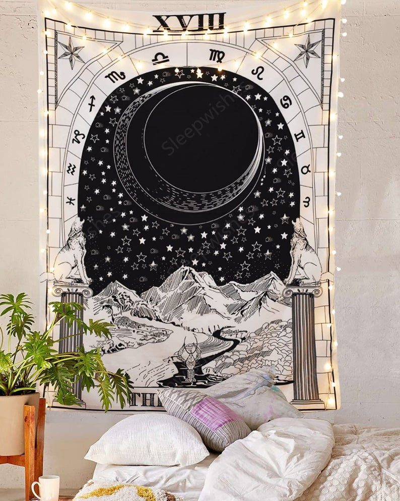 Black and White The Moon Tarot Card Tapestry