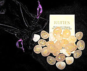 Rose Quartz Runes Stones with Pouch