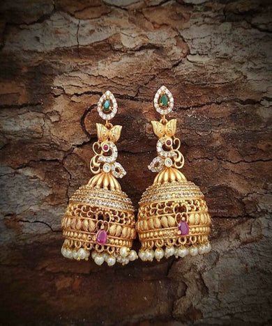 AD Stone Matte Peacock With Pearl Jhumka