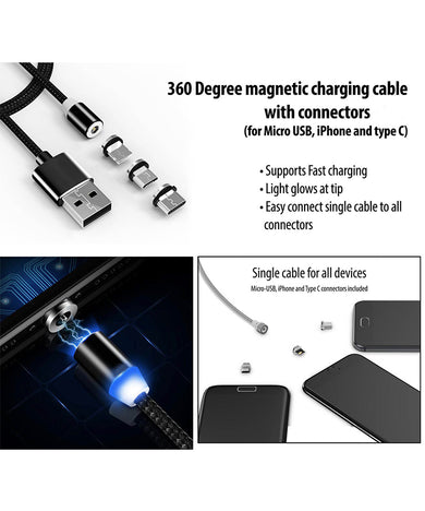 360 Degree magnetic charging cable with connectors | Supports Fast charging | Light glow at tip (for Micro USB, iPhone and type C)