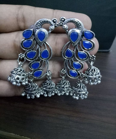 Adorable Stone Peacock Jhumki