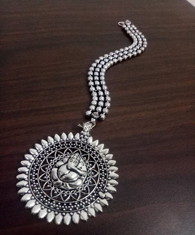 Antique Oxidised Ball Chain Maangtikka