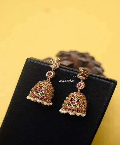 Peacock Design Pearl Drop AD Jhumka
