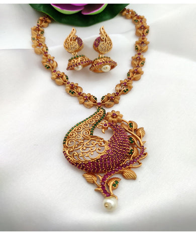 Exclusive AD Stone Peacock Design Necklace