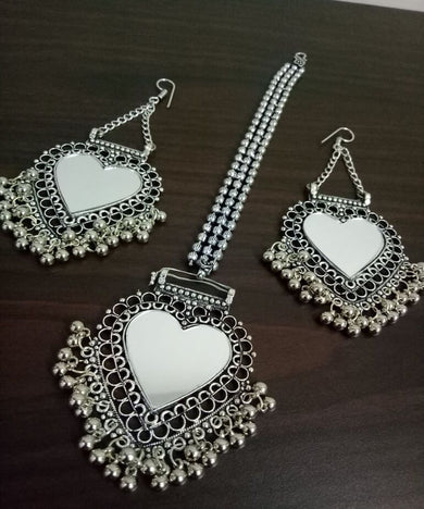 Partywear Mirror Maangtikka & Earrings