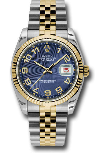 Rolex Steel and Yellow Gold Rolesor Datejust 36 Watch - Fluted Bezel - Blue Concentric Circle Arabic Dial - Jubilee Bracelet