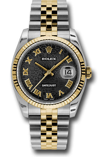 Rolex Steel and Yellow Gold Rolesor Datejust 36 Watch - Fluted Bezel - Black Jubilee Roman Dial - Jubilee Bracelet