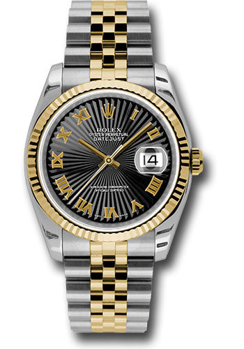 Rolex Steel and Yellow Gold Rolesor Datejust 36 Watch - Fluted Bezel - Black Sunbeam Roman Dial - Jubilee Bracelet