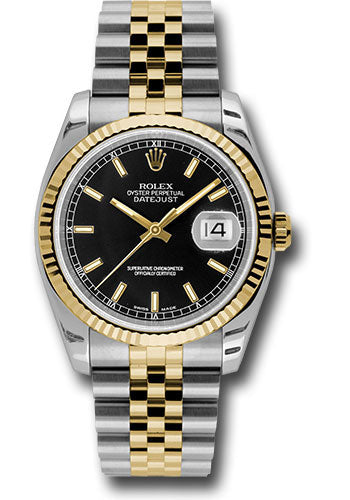 Rolex Steel and Yellow Gold Rolesor Datejust 36 Watch - Fluted Bezel - Black Index Dial - Jubilee Bracelet