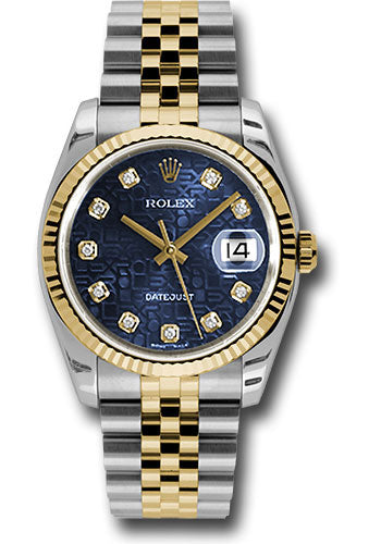 Rolex Steel and Yellow Gold Rolesor Datejust 36 Watch - Fluted Bezel - Blue Jubilee Diamond Dial - Jubilee Bracelet
