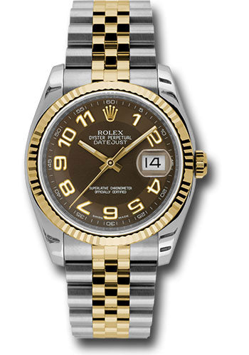 Rolex Steel and Yellow Gold Rolesor Datejust 36 Watch - Fluted Bezel - Brown Arabic Dial - Jubilee Bracelet