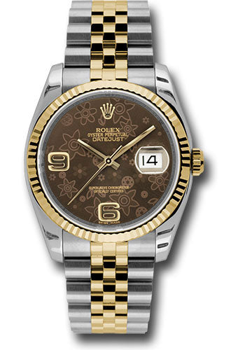 Rolex Steel and Yellow Gold Rolesor Datejust 36 Watch - Fluted Bezel - Bronze Floral Arabic 6 And 9 Dial - Jubilee Bracelet