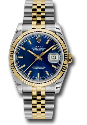 Rolex Steel and Yellow Gold Rolesor Datejust 36 Watch - Fluted Bezel - Blue Index Dial - Jubilee Bracelet