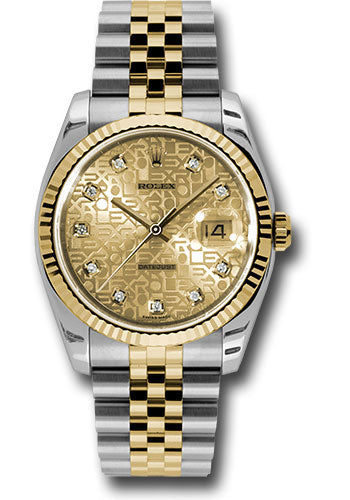 Rolex Steel and Yellow Gold Rolesor Datejust 36 Watch - Fluted Bezel - Champagne Jubilee Diamond Dial - Jubilee Bracelet