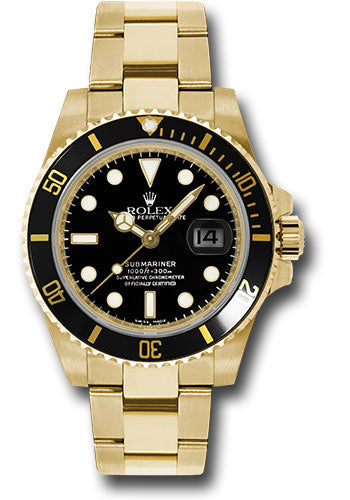 Rolex Yellow Gold Submariner Date Watch - Black Dial