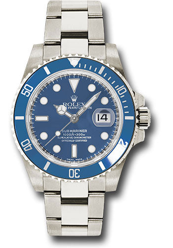 Rolex White Gold Submariner Date Watch - Blue Dial